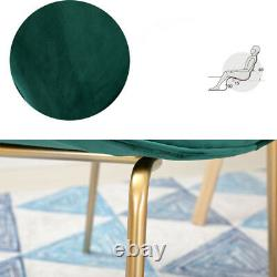 Modern Gold Legs Beetles Backrest Dining Chairs with Velvet Cushion Lounge Seats
