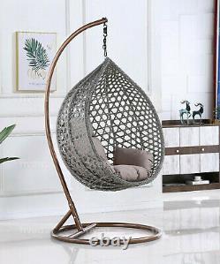 Nardo Rattan Swing Hanging Egg Chair Garden Indoor Outdoor Grey Large