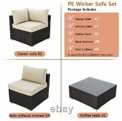 New Rattan Garden Furniture Corner Sofa Set Outdoor Patio U Shape Sofa Set 7 Pcs