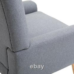 Nordic Single Cushion Padded Chair Wooden Armchair Button Tufted Seat Linen