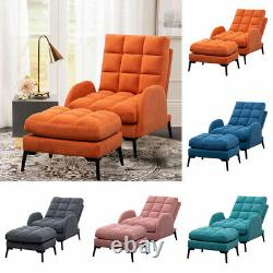 Orthopeadic Armchair Velvet Linen Cushioned Recliner Lounge Chairs Sofa with Stool