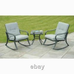 Outdoor 3 Piece Bistro Garden Patio Set Padded Rocking Furniture Set-GREY-0154