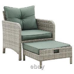 Outdoor Garden Furniture Rattan Chairs Armchair Patio Set & Footstools Lounger