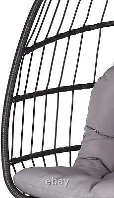 Outdoor Garden Rattan Egg Chair Patio Seat Hanging Folding Hammock Grey Cushion