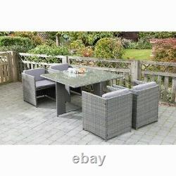 Outdoor & Indoor Rattan Effect Garden 4 Seater Cube Set with Table & Cushions