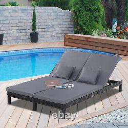 Outsunny 2 Person Rattan Lounger Adjustable Double Chaise Chair with Cushion Black