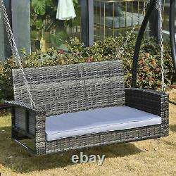 Outsunny 2 Seater Patio Rattan Swing Chair Hanging Chair with Padded Cushion
