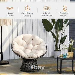 Outsunny 360° Swivel Rattan Papasan Moon Bowl Chair Round Outdoor with Padded-Grey