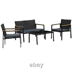 Outsunny 4 Pcs PE Rattan Furniture Set with3 Cushioned Chairs 1 Coffee Table -Grey