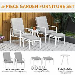 Outsunny 5PCs Garden Reclining Chair Set Footstools Coffee Table Cushion