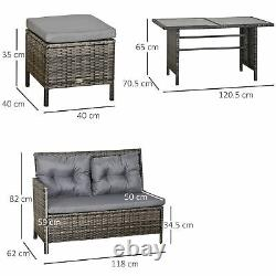 Outsunny 6 PCs Patio wicker Sofa Set Rattan Chair Furniture with Glass & Cushioned