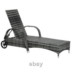 Outsunny Adjustable Wicker Rattan Sun Lounger Recliner Chair with Cushion Grey