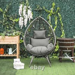 Outsunny Outdoor indoor Wicker Teardrop Chair with Cushion Rattan Lounger