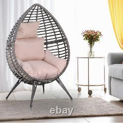 Outsunny Rattan Wicker Teardrop Chair Lounger Soft Cushioned Poolside Patio Seat