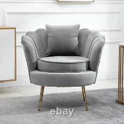 Oyster Accent Armchairs Sofa Chair with Footstool & Cushion Set Lounge Living Room