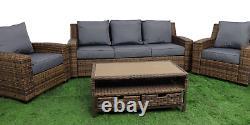 PATIOKING Brown Rattan Garden Furniture Set 4 PCS Grey Cushions 5 Seater Sofa Ch