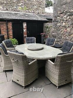 Premium Grey Rattan Garden 7 Seat Huge Table Dining Patio Set Parasol 4k New