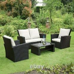 Premium Rattan Garden Furniture Patio 4 Piece Set Table Chairs Grey Black Brown