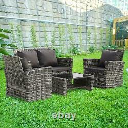 Rattan 4 Seater Lounge Sofa Chair Patio Outdoor Garden Furniture with Cushions