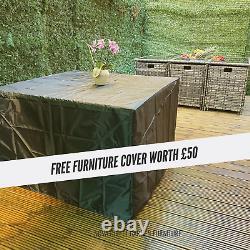 Rattan 8 Seater Garden Dining Furniture Cube Sofa Set Table Outdoor Patio Grey