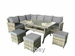Rattan 9 Seater Corner Group Garden Furniture Set Outdoor Dining Table Sofa Set