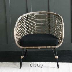 Rattan Club Accent Chair Black Cushion and Black Legs
