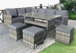 Rattan Corner Garden Furniture Set Outdoor Dining Table Sofa Stool Set