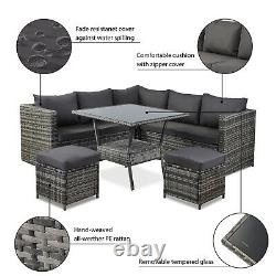 Rattan Corner Group Garden Furniture Set Outdoor Dining Table Sofa Stool Set UK