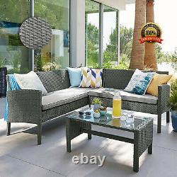 Rattan Corner Sofa Set Table Chair Patio Garden Outdoor Living Lounge Furniture