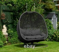 Rattan Double Sized Egg Cocoon Swing Chair Charcoal