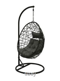 Rattan Effect Garden Hanging Egg Swing Chair Relaxing Patio Hammock with Cushions
