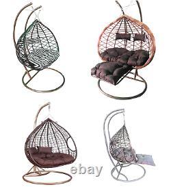 Rattan Effect Hanging Egg Chair Swing Patio Garden Room Cushion Rain Cover