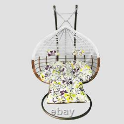 Rattan Effect Hanging Egg Chair Swing Patio Garden Room Cushion Rain Cover Foot
