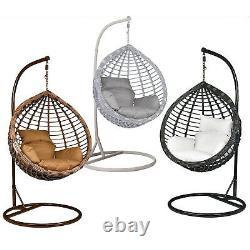 Rattan Effect Hanging Egg chair Swing Patio Garden Bedroom Cushion In or Outdoor