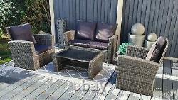 Rattan Furniture, Garden Set, 2 chairs and sofa set, Patio, 4 Seater, UK Stock