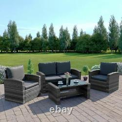 Rattan Garden 4 Seater Set Grey Black Brown Weave Sofa Patio Armchair Table