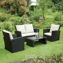 Rattan Garden Furniture 4 Piece Patio Set Table Chairs Grey with Cream Cushions