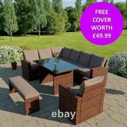 Rattan Garden Furniture 9 Seater Corner Dining Set Armchair & Bench FREE COVER