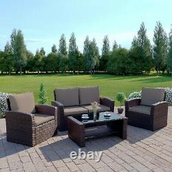 Rattan Garden Furniture Conservatory Sofa Set 4 Seat Armchair Table