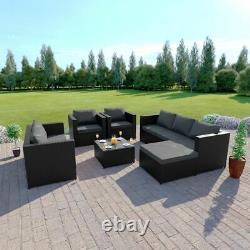 Rattan Garden Furniture Corner Sofa Armchairs Table Ottoman 7 Seater