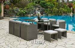 Rattan Garden Furniture Outdoor Cube Set 11pc Conservatory Patio Dining Set