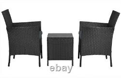 Rattan Garden Furniture Set 3 Piece Patio Bistro Set Weaving Wicker Chairs Porch