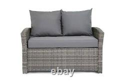 Rattan Garden Furniture Set 4 Pcs Table Chair Sofa Outdoor Patio Conservatory