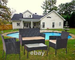 Rattan Garden Furniture Set 4 Piece Chairs Sofa Table Outdoor Patio Set