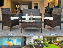 Rattan Garden Furniture Set 4 Piece Chairs Sofa Table Outdoor Patio Set Balcony