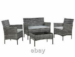 Rattan Garden Furniture Set 4 Piece Sofa Chairs Table Outdoor Patio Set Grey