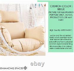 Rattan Garden Hanging Egg Chair Egg Swing Chair Relaxing Patio Hammock W Cushion