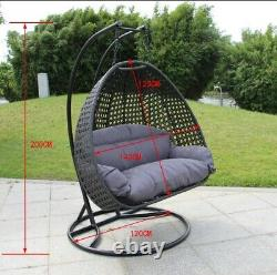 Rattan Garden Hanging Egg Swing Chair with Cushion (Large double seater)