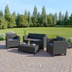 Rattan Garden Patio Furniture Conservatory Sofa Table Set 4 Piece Armchair