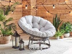 Rattan Garden Steel Chair Papasan Moon Seat Round Padded Cushion Conservatory